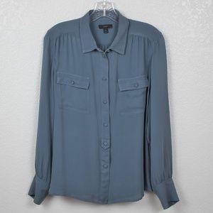 J.Crew Blue Silk Blouse Sz 14